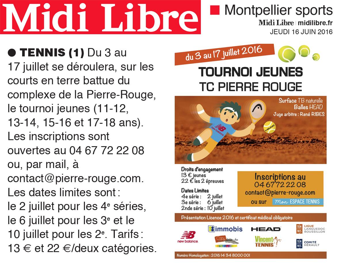 Article Tournoi Jeunes Midi Libre 2016