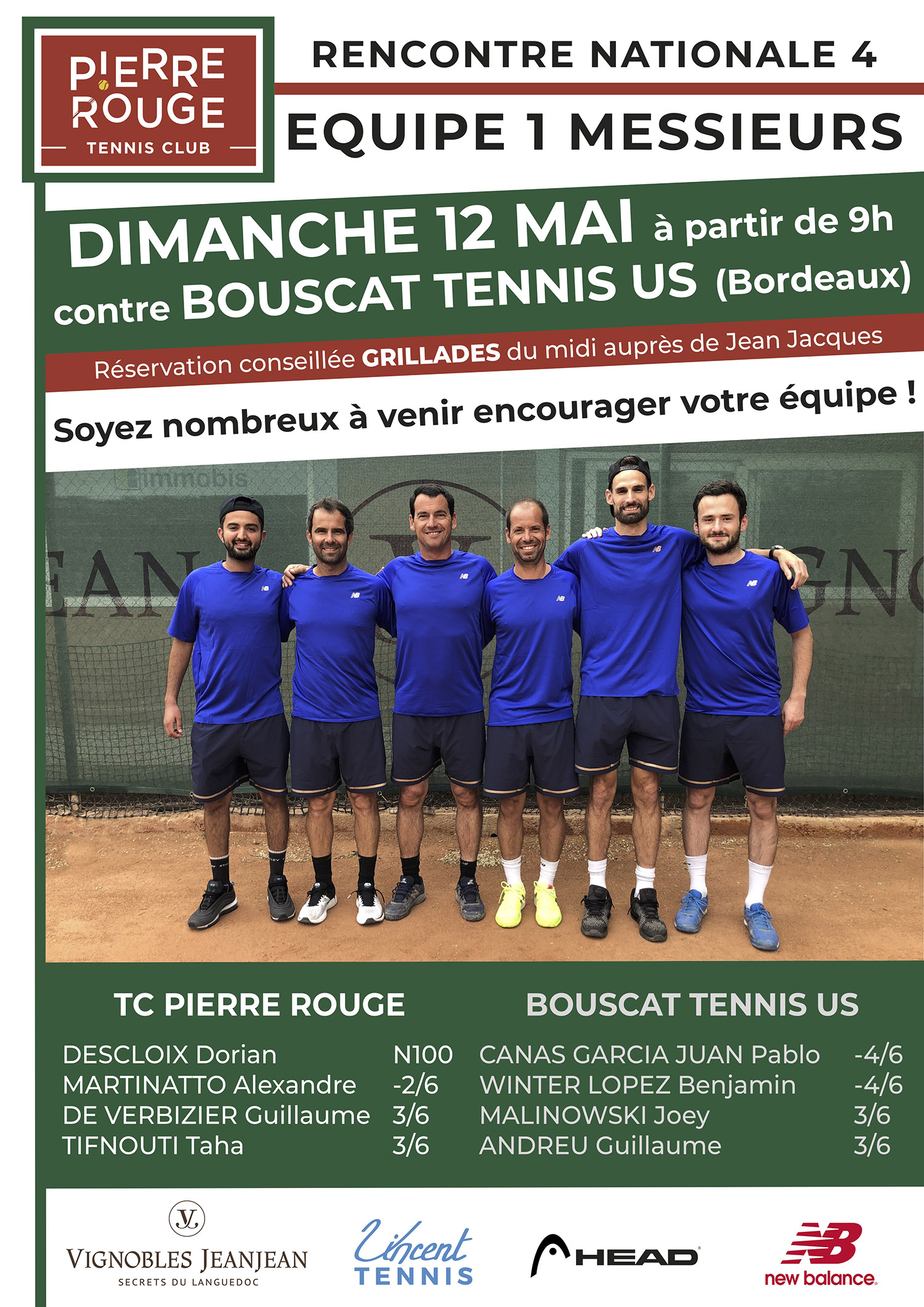 National 4 - TC Pierre Rouge contre US Bouscat Tennis